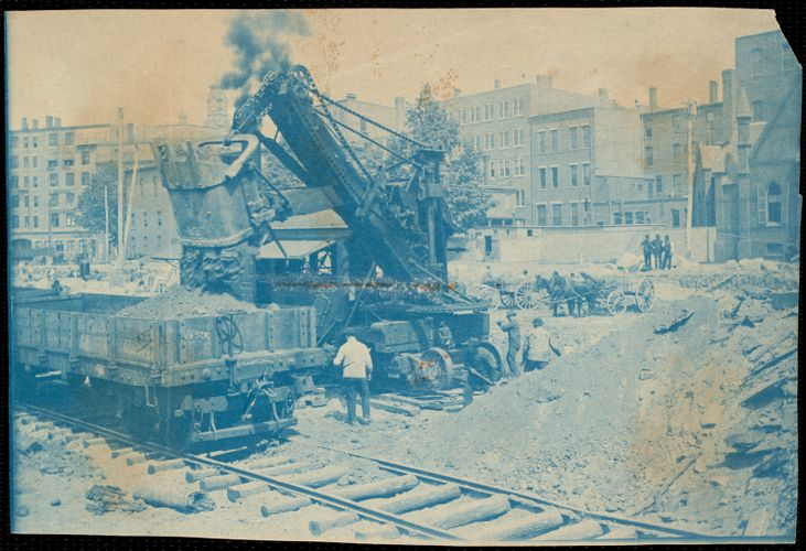 Steam shovel removing sand during construction of new weaving building Lower Pacific Mills