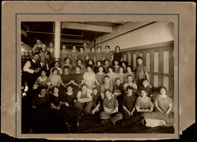 Shipping room of the Lower Pacific Mill taken about 1910, (maybe 1908)