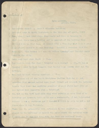 Sacco-Vanzetti Case Records, 1920-1928. Defense Papers. Statement of Lola Andrews, January 14, 1921. Box 13, Folder 1, Harvard Law School Library, Historical & Special Collections