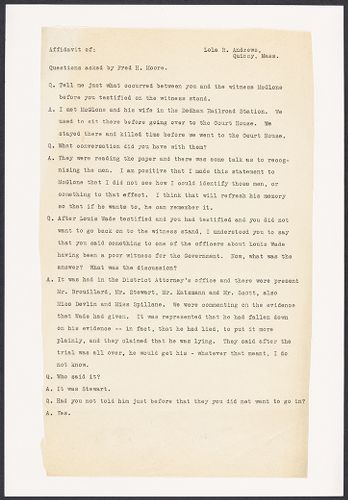 Sacco-Vanzetti Case Records, 1920-1928. Defense Papers. Affidavit of Lola Andrews, September 15, 1922. Box 13, Folder 3, Harvard Law School Library, Historical & Special Collections
