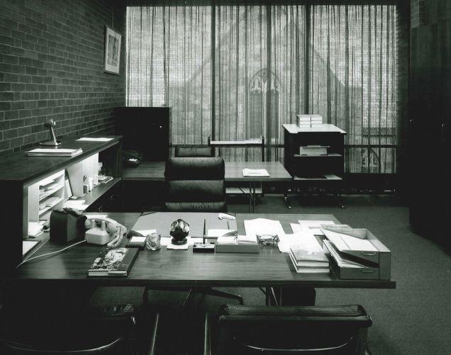 Desk, Lawrence Public Library interior