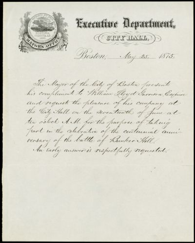 Invitation from Samuel Crocker Cobb, Mayor's Office, Executive Department, City Hall, Boston, [Mass.], to William Lloyd Garrison, May 25, 1875