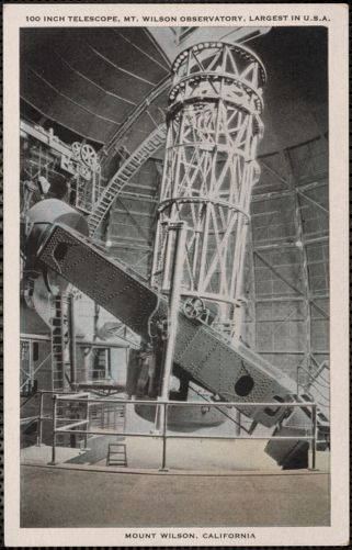 100 inch telescope, Mt. Wilson Observatory, largest in U.S.A.