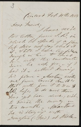 F. B. Sanborn autograph letter signed to [Thomas Wentworth Higginson], Concord, 11 February 1858