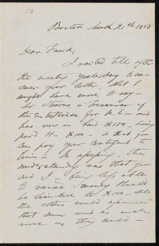 F. B. Sanborn autograph letter signed to [Thomas Wentworth Higginson], Boston, 21 March 1858