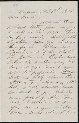 F. B. Sanborn autograph letter signed to [Thomas Wentworth Higginson], Concord, 13 October 1858