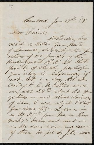 F. B. Sanborn autograph letter signed to [Thomas Wentworth Higginson], Concord, 19 January [18]59