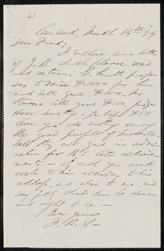 F. B. Sanborn autograph letter signed to [Thomas Wentworth Higginson], Concord, 14 March [18]59
