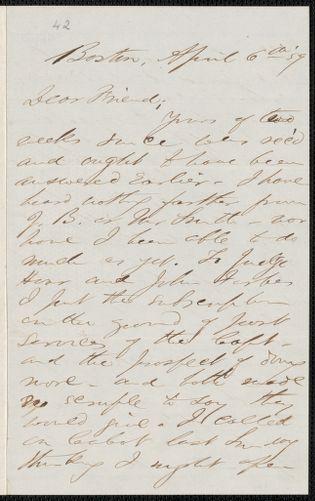 F. B. Sanborn autograph letter signed to [Thomas Wentworth Higginson], Boston, 6 April [18]59