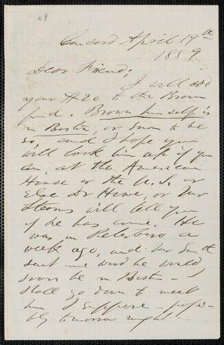 F. B. Sanborn autograph letter signed to [Thomas Wentworth Higginson], Concord, 19 April 1859