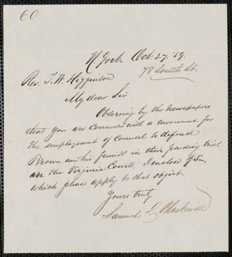 John Brown: Correspondence relating to John Brown and the raid on Harpers Ferry, West Virginia