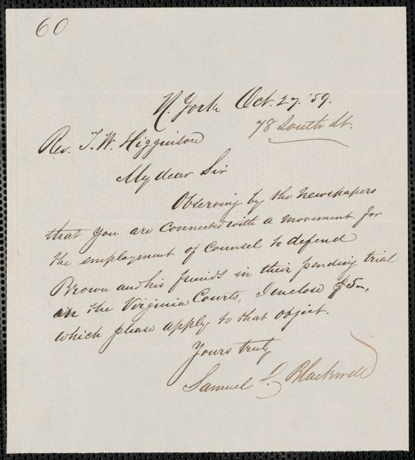 Samuel C. Blackwell autograph note signed to Thomas Wentworth Higginson, N. York, 27 October [18]59
