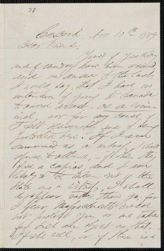 F. B. Sanborn autograph letter signed to [Thomas Wentworth Higginson], Concord, 10 November 1859