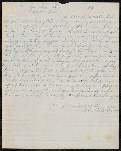 Elizabeth E. Tidd autograph letter signed to [Thomas Wentworth Higginson], Lee [Maine], 16 November [18]59