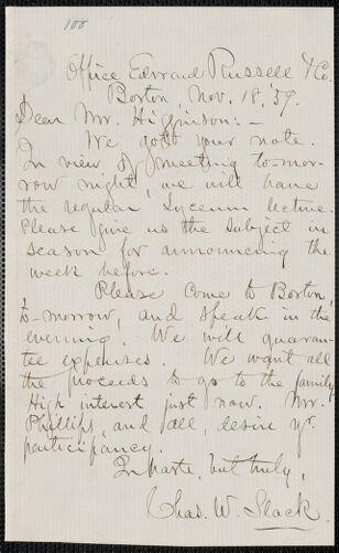 Charles W. Slack autograph letter signed to Thomas Wentworth Higginson, Boston, 18 November 1859