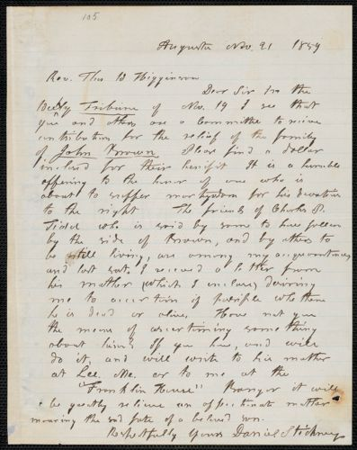 Daniel Stickney autograph letter signed to Thomas Wentworth Higginson, Augusta [Maine], 21 November 1859