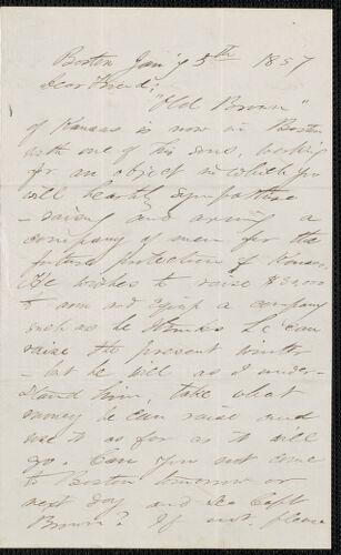 F. B. Sanborn autograph letter signed to [Thomas Wentworth Higginson], Boston, 5 January 1857
