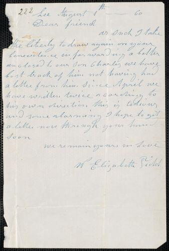 Elizabeth E. Tidd autograph letter signed to [Thomas Wentworth Higginson], Lee [Maine], 1 August [18]60