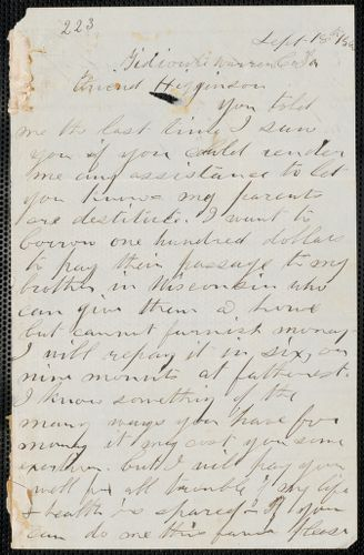 Charles Plummer Tidd autograph letter signed to Thomas Wentworth Higginson, Tidioute, Warren Co., Pa., 18 September 1860