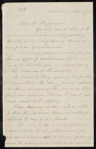 Elisabeth E. Tidd autograph letter signed to Thomas Wentworth Higginson, Brookline, 20 October [18]60