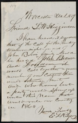 E.F. Robers autograph letter signed to Thomas Wentworth Higginson, Worcester, 1 December 1859