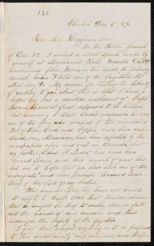 Elisabeth E. Tidd autograph letter signed to Thomas Wentworth Higginson, Clinton, 5 December [18]59