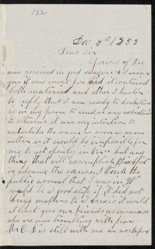Charles Plummer Tidd autograph letter signed to Thomas Wentworth Higginson, 8 December 1859
