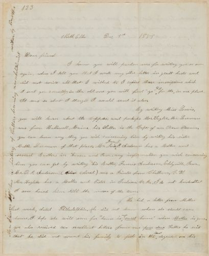 Annie Brown Adams autograph letter signed to Thomas Wentworth Higginson, North Elba, N.Y., 9 December 1859