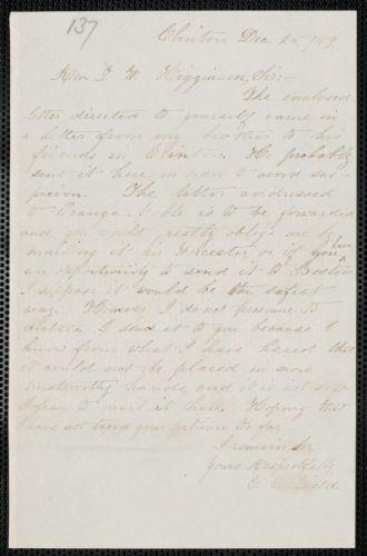 Elisabeth E. Tidd autograph note signed to Thomas Wentworth Higginson, Clinton, 25 December [18]59