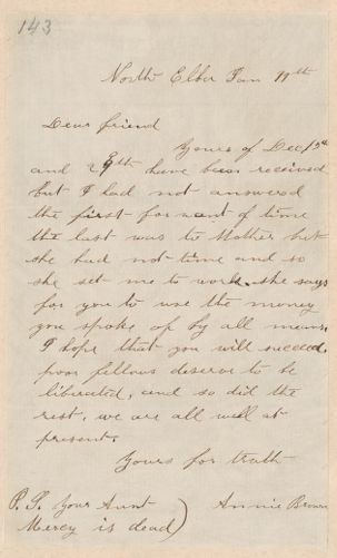 Annie Brown Adams autograph letter signed to Thomas Wentworth Higginson, North Elba, [N.Y.], 11 January [1860]