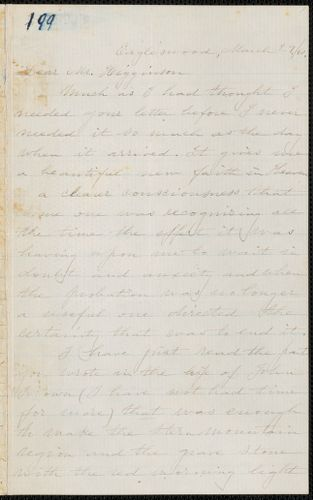 Caroline Cushing Andrews Leighton autograph letter signed to Thomas Wentworth Higginson, [Eagleswood Perth Amboy, N.J.], 29 March [18]60
