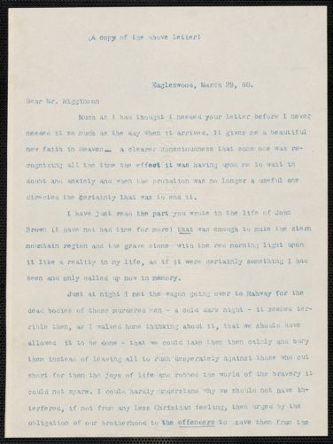 Caroline Cushing Andrews Leighton typed letter to Thomas Wentworth Higginson, [Eagleswood Perth Amboy, N.J.], 29 March [18]60