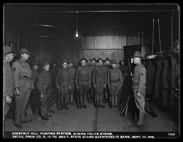 Distribution Department, Chestnut Hill Pumping Station, during Boston police strike, detail from Company B, 14th Regiment, State Guard, quartered in barn, Brighton, Mass., Sep. 17, 1919