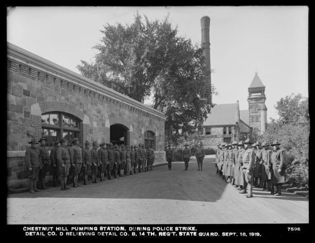 Distribution Department, Chestnut Hill Pumping Station, during Boston police strike, detail from Company D relieving Detail Company B, 14th Regiment, State Guard; in front of Garage, Brighton, Mass., Sep. 18, 1919