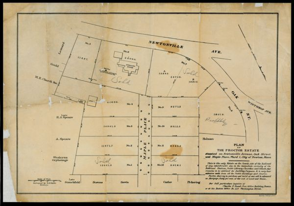 Plan of the Proctor estate situated on Newtonville Avenue, Oak Street and Maple Place, Ward I, City of Newton, Mass -
