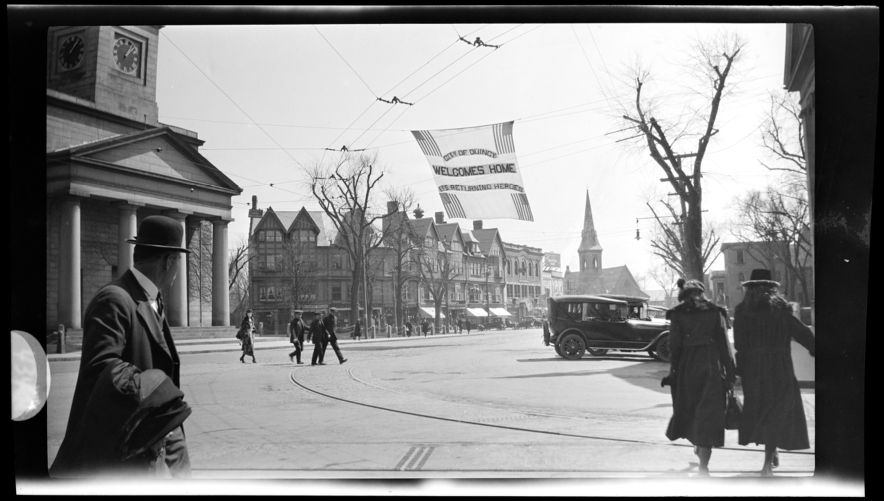 """""""Welcome Home Flag"""" Returning heroes. Quincy Square, 1919"""