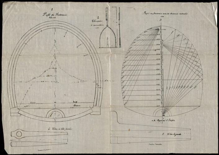 1 Profil du souterrain. 2 chandelier a cremalliere 3 profil du souterrain avec les ordonnes calculees 4 clou a tete percee 5 clou de garde