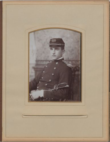 Newton High School, class of 1890 photographs - Unidentified Male Student in Military Uniform -