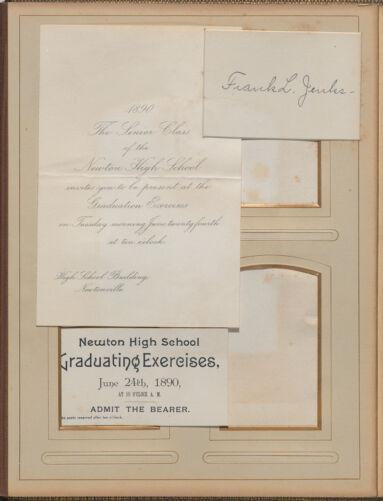 Newton High School, class of 1890 photographs - Graduation Invitation, Ticket and Calling Card -