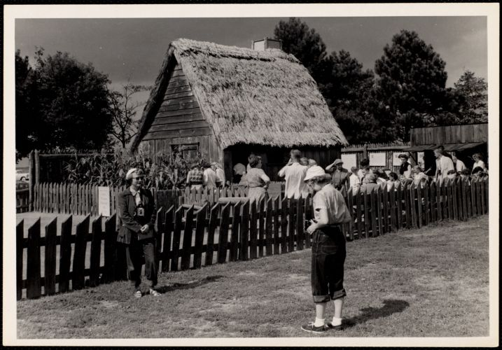 Re-production of early Pilgrim dwelling Plymouth, Mass