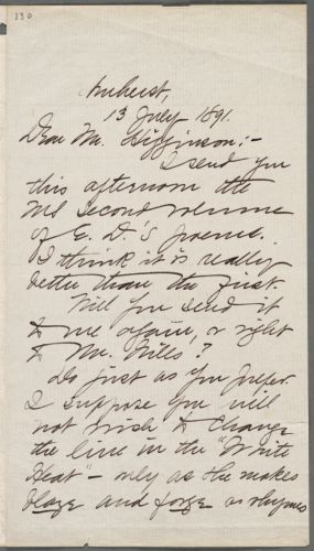 Mabel Loomis Todd, Amherst, Mass., autograph letter signed to Thomas Wentworth Higginson, 13 July 1891