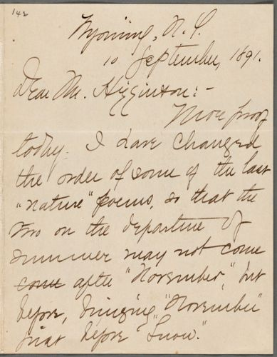 Mabel Loomis Todd, Wyoming, N.Y., autograph letter signed to Thomas Wentworth Higginson, 10 September 1891