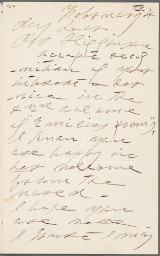 Lavinia Norcross Dickinson, Amherst, Mass., autograph note signed to Thomas Wentworth Higginson, 4 February 1892
