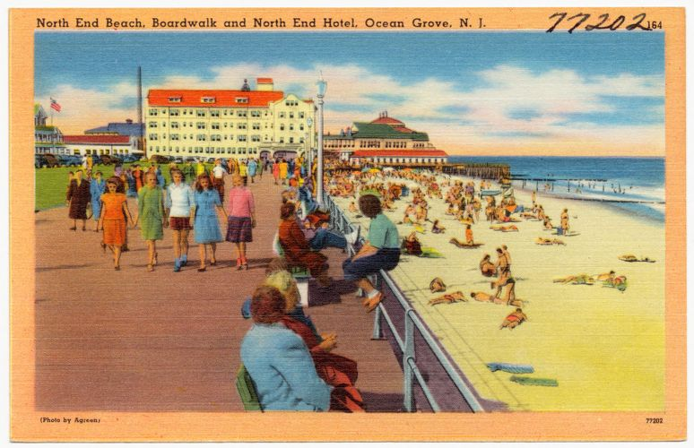 North end beach, boardwalk and north end hotel, Ocean Grove, N. J.