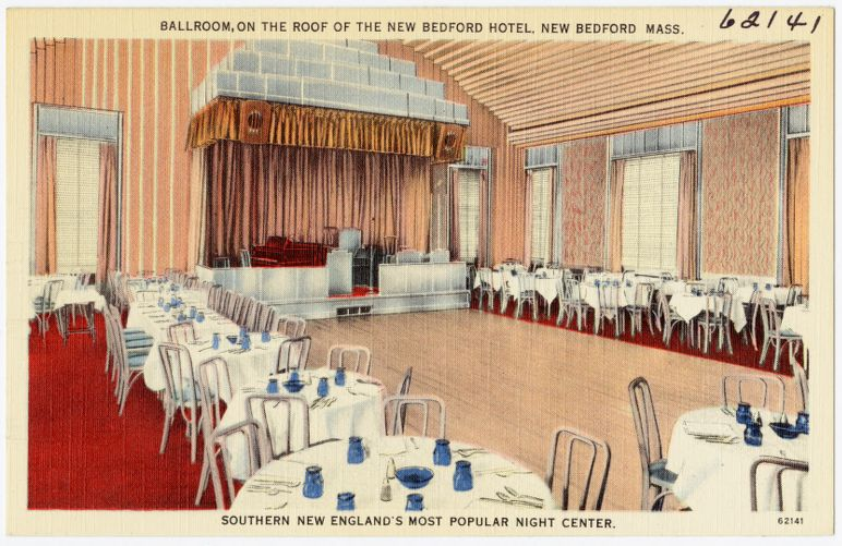 Ballroom, on the roof of the  New Bedford Hotel, New Bedford, Mass., Southern New England's most popular night center