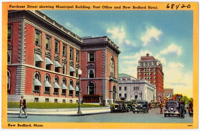 Purchase Street showing Municipal Building, post office and New Bedford Hotel, New Bedford, Mass.