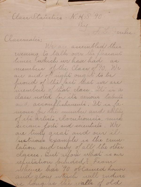 Class statistics, N.H.S. '90 - Class statistics, Newton High School, 1890 - Class of 1890 : statistics and journal notebook - [Book 1]