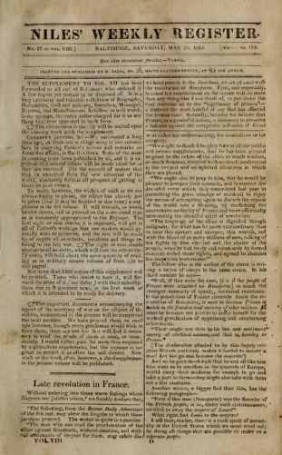 Niles' Weekly Register, May 20, 1815