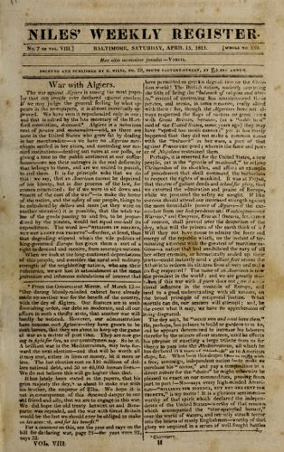 The Weekly Register, April 15, 1815