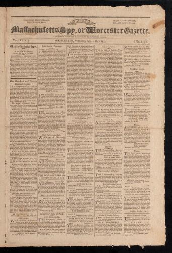 Massachusetts Spy, or Worcester Gazette, April 26, 1815